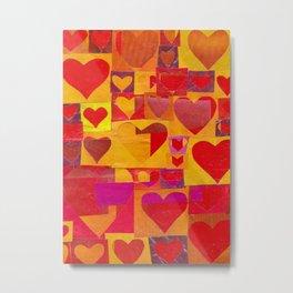 Paper Cutout Hearts Metal Print