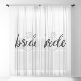 Bride with Diamond Ring (White Gold) Sheer Curtain