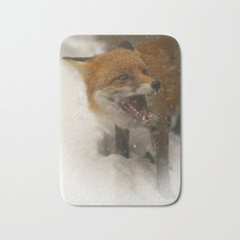 Wild Red Fox In The Snow Bath Mat