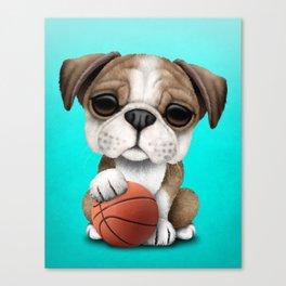 British Bulldog Puppy Playing With Basketball Canvas Print
