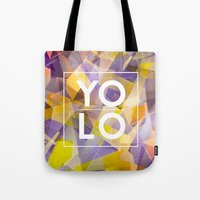 sayings Tote Bags featuring Dreams of YOLO Vol.1 by HappyMelvin