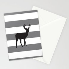 Deer in Black on Grey and White Stripes Stationery Cards