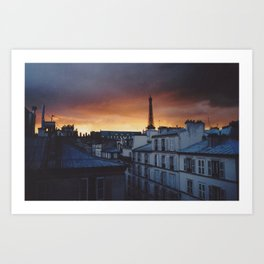 sunset in paris Art Print