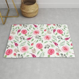 Watercolor Roses and Greenery | Art | Loose Florals Rug
