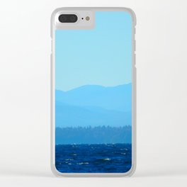 Blue on blue Clear iPhone Case