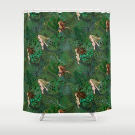 Mermaids in an Underwater Garden Shower Curtain