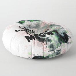 Watercolor Black White Cat Pink Tint Calligraphy Floor Pillow