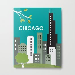Chicago, Illinois - Skyline Illustration by Loose Petals Metal Print