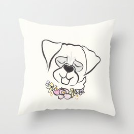 Pretty Pug Puppy Dog with Flower Collar Necklace Throw Pillow