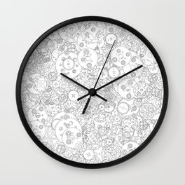 Clockwork B&W / Cogs and clockwork parts lineart pattern Wall Clock