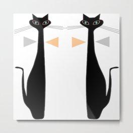 Mid-Century Modern Art Cat Double 1.0T Metal Print