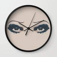 hedwig Wall Clocks featuring Hedwig 2 Eyes by byebyesally