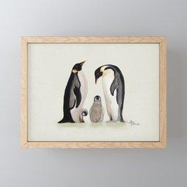 Penguin Family Watercolor Framed Mini Art Print