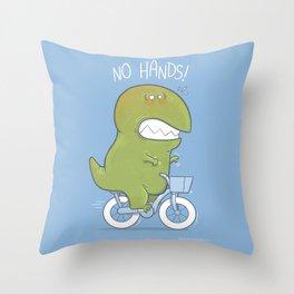 T-Rex tries biking Throw Pillow