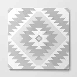 Tangiers Kilim in Grey and Whtie Metal Print