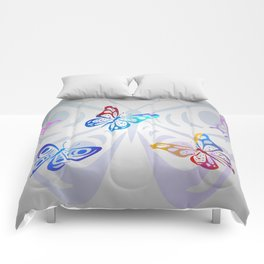 Big Butterflies with grey background Comforters