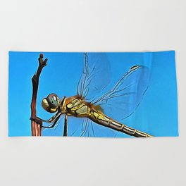 Hang On In There Artistic Dragonfly Beach Towel