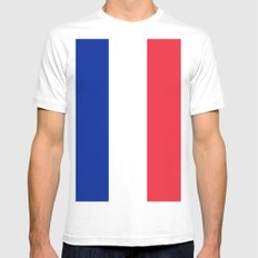 France / French Flag / Drapeau MEDIUM Mens Fitted Tee White