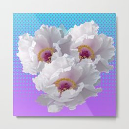 LILAC-PURPLE-BLUE  WHITE TREE PEONY FLOWERS ART Metal Print
