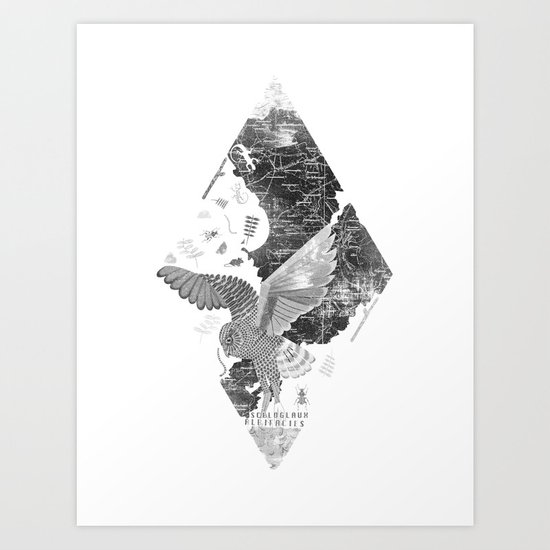 OWL MAP Art Print