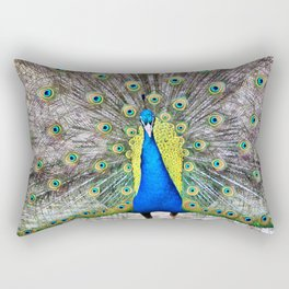 Peacock Display Rectangular Pillow