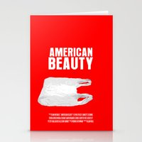 american beauty Stationery Cards featuring American Beauty Movie Poster by FunnyFaceArt
