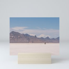 Bicycle Riding on the Boneville Salt Flats in Utah, Travel Photography Mini Art Print