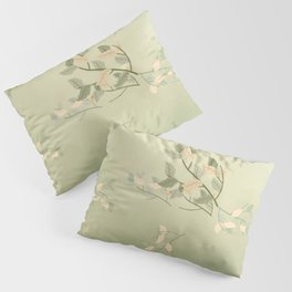 Sage Green Watercolor Woodland Leaves Pillow Sham