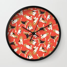 beagle scatter coral red Wall Clock