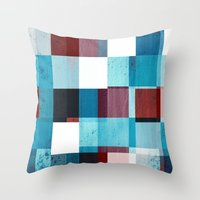 patriotic Throw Pillows featuring Patriotic Grid by plaidGecko