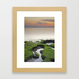 """Green, white and red beach"" Framed Art Print"