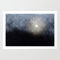 Glowing Moon in the night sky Art Print