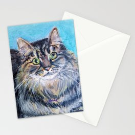 Munchkin tabby cat portrait Stationery Cards