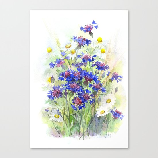 Meadow watercolor flowers with cornflowers Canvas Print