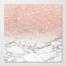 Modern faux rose pink glitter ombre white marble Canvas Print