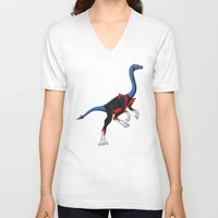 nightcrawler V-neck T-shirts featuring Nightcrawlimimus - Superhero Dinosaurs Series by LEGITIMVS MAXIMVS