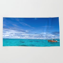 South Pacific Crystal Ocean Dreamscape with Boat Beach Towel