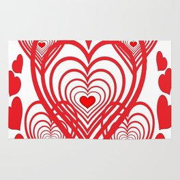 0PTICAL ART RED VALENTINES HEARTS IN HEARTS DESIGN Rug