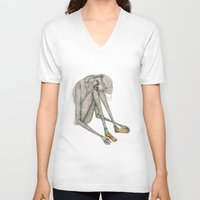 socks V-neck T-shirts featuring Favorite socks by auntikatar