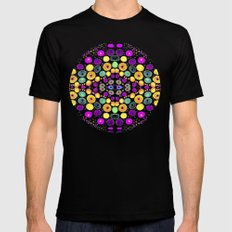 Yellow And Purple Mosaic MEDIUM Mens Fitted Tee Black