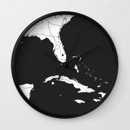 Florida, Cuba, Dominican Republic, Haiti, Jamaica Map Wall Clock
