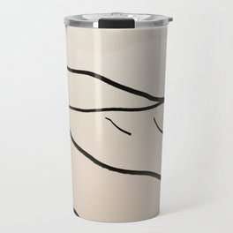 A Minimalist Charcoal Drawing of Playa Vasca, Sopelana Beach, in the Basque Country, Spain Travel Mug
