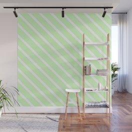 Honeydew Melon Diagonal Stripes Wall Mural