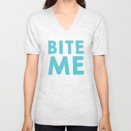 Bite Me Blue Text Unisex V-Neck