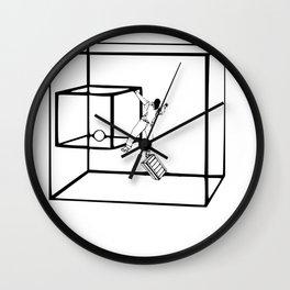Geometric surreal dimension line art Wall Clock