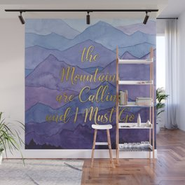 Blue Watercolor Mountains Calling Wall Mural