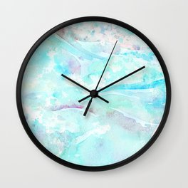 Pastel blue pink hand painted watercolor pattern Wall Clock