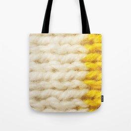 White Yellow Wool Knitting Texture Tote Bag
