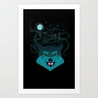 howl Art Prints featuring Howl by Kathryn Hudson Illustrations