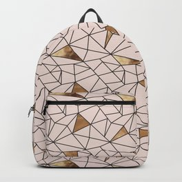 Modern abstract blush pink faux gold geometrical Backpack